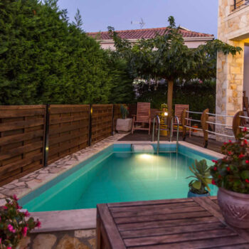 Rental Villa Cactus, with a swimming pool and a view to the Ionian sea at a close distance, in Syvota village, Thesprotia, Greece