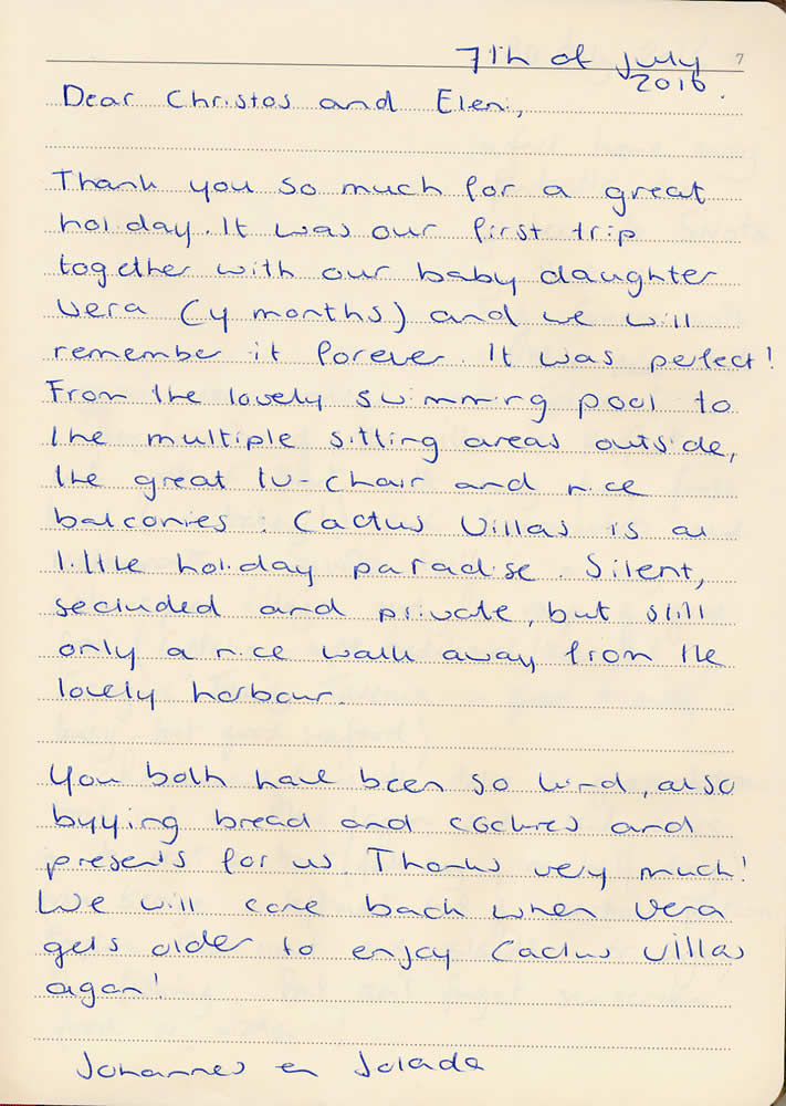 Cactus, Two Rental Villas in Sivota, customer's comments